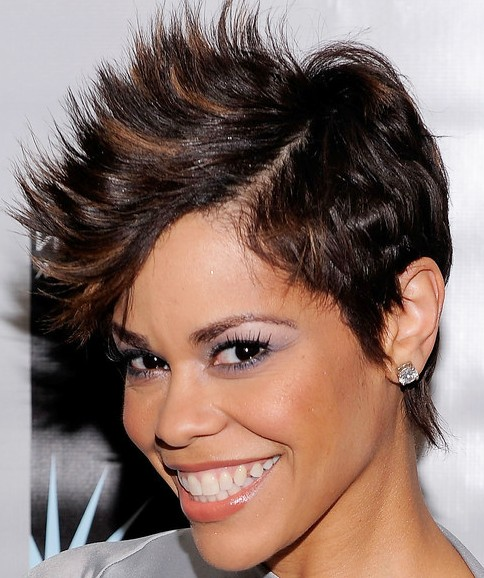 "Here, media personality April Woodard models the ""Faux Hawk"" style."