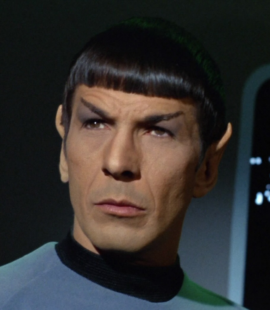 Spock. Rocking the bangs, the eyebrows, the ears....he's the whole style package.