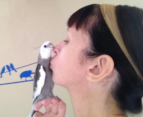 "Pearl and his mommy share a ""beak kiss"" to celebrate her birthday."