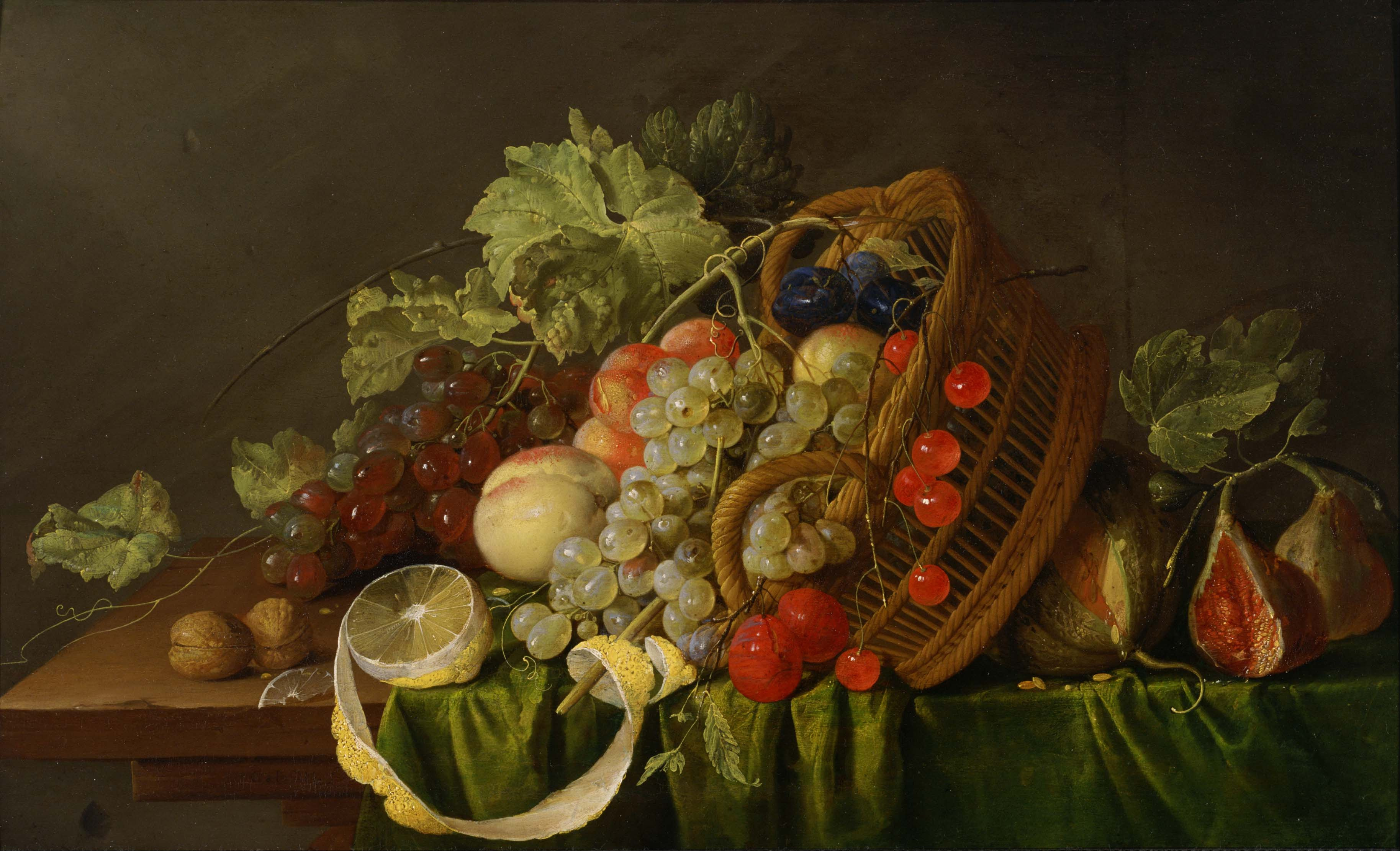 """An example of a historical  art piece depicting a """"fruit basket"""" (work is in the public domain)."""