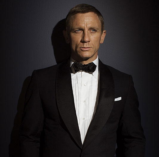 James Bond, wearing black tie.