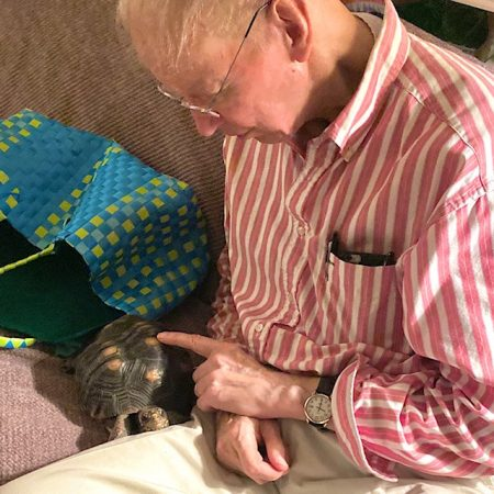 pet tortoise with grandpa