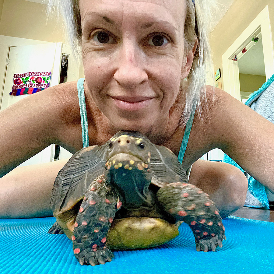 redfoot tortoise and owner