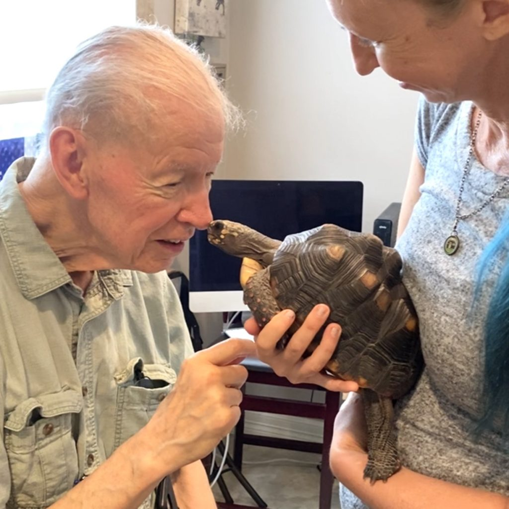 grandpa with tortoise